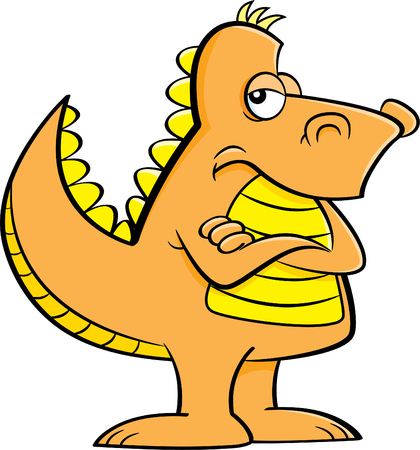 Cartoon illustration of an angry dinosaur with his arms crossed.