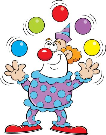 Illustration de dessin animé d'un clown jonglant avec des balles. Vecteurs