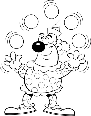 Black and white Illustration of a clown juggling balls. Illustration