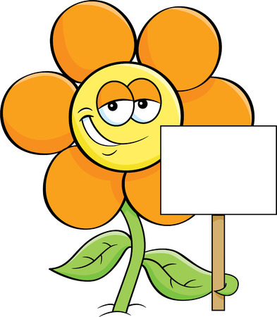 Cartoon illustration of a smiling flower holding a sign.