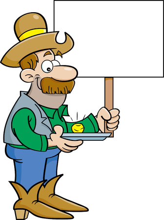 Cartoon illustration of a prospector with a gold nugget holdling a sign. Illustration