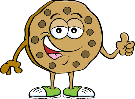 Cartoon illustration of a chocolate chip cookie giving thumbs up. Illustration