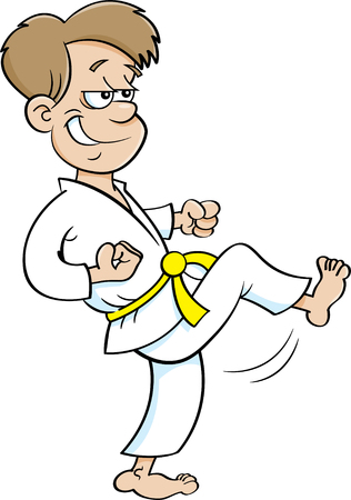 Cartoon illustration of a boy in a karate suit kicking.
