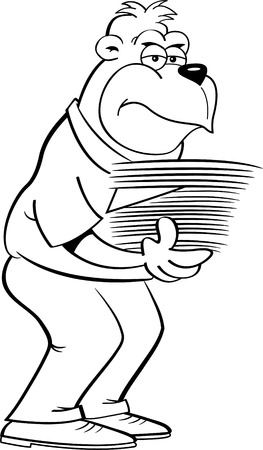 Black and white illustration of a gorilla holding an armload of papers. Stock fotó - 109467670