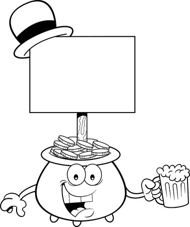 Black and white illustration of a pot of gold with a sign and holding a glass of beer. Illustration