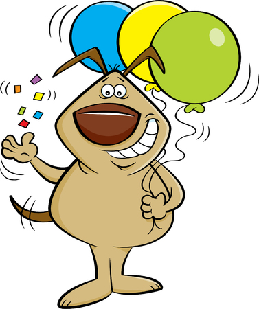 Cartoon illustration of a dog tossing confetti and holding balloons.
