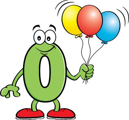 Cartoon illustration of a number zero holding balloons.