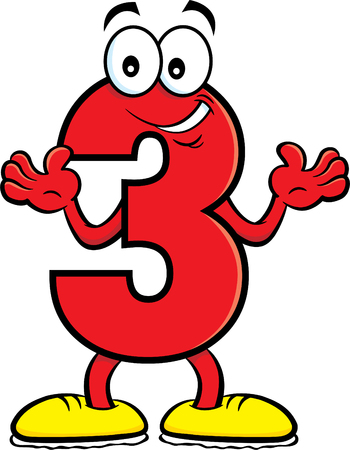 Cartoon illustration of a number three with its hands up. Ilustrace