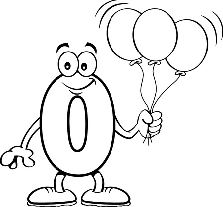 Black and white illustration of a number zero holding balloons. Standard-Bild - 113295717
