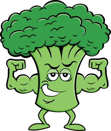 Cartoon illustration of a broccoli flexing his muscles.