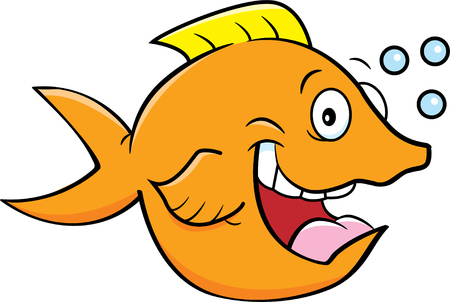 Cartoon illustration of a happy fish with bubbles.