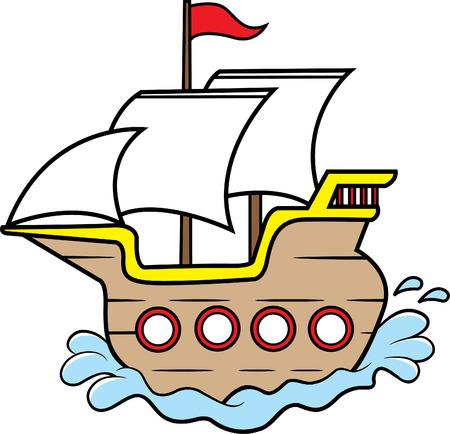 Cartoon illustration of a wooden sailing ship.