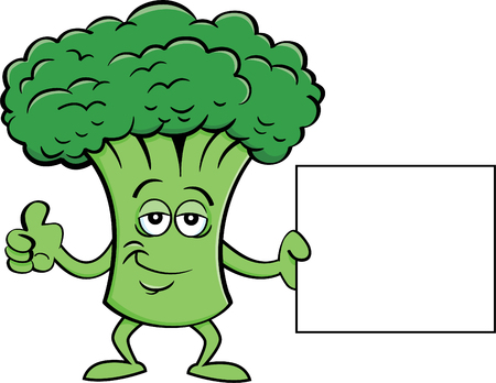 Cartoon illustration of a broccoli holding a sign.