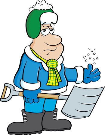 Cartoon illustration of a depressed man holding a snow shovel.