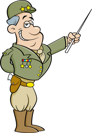 Cartoon illustration of a general in a uniform pointing.