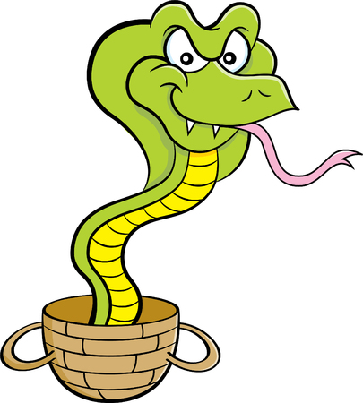 Cartoon illustration of a cobra coming out of a basket.