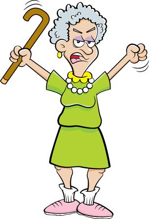 Illustration de dessin animé d'une personne âgée en colère secouant une canne. Vecteurs