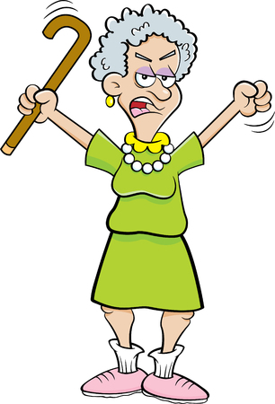 Cartoon illustration of an angry senior citizen shaking a cane.