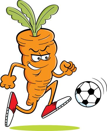 Illustration de dessin animé d'une carotte jouant au football. Vecteurs