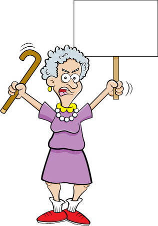 Cartoon illustration of an angry senior citizen shaking a cane and holding a sign.
