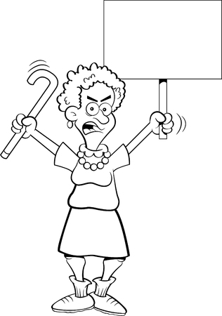 Black and white illustration of an angry senior citizen shaking a cane and holding a sign.