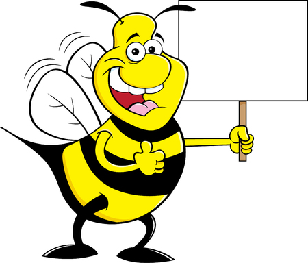 Cartoon illustration of a happy bumble bee giving thumbs up while holding a sign. Illustration