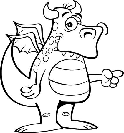 Black and white illustration of a winged dragon pointing. Ilustração