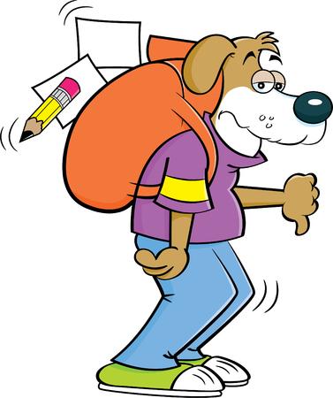 Cartoon illustrazione di un cane con un grande zaino che dà i pollici in giù.
