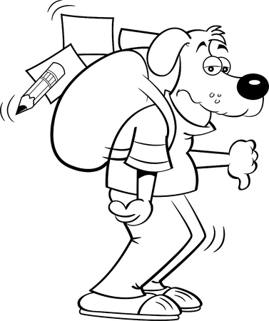 Black and white illustration of a dog with a large backpack giving thumbs down.