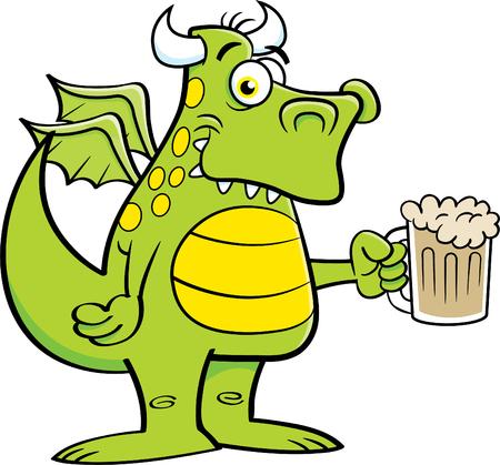 Karikaturillustration eines geflügelten Drachen, der einen Becher Bier hält.