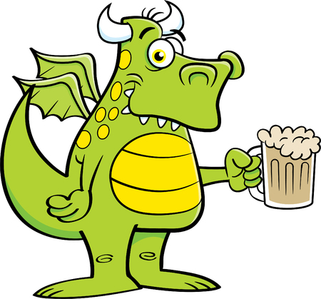 Cartoon illustration of a winged dragon holding a mug of beer. Illustration