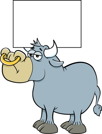 Cartoon illustration of a bull holding a sign between its horns.