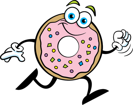 Cartoon illustration of a happy doughnut running.  イラスト・ベクター素材