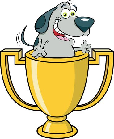 Cartoon illustration of a dog inside a trophy cup giving thumbs up.