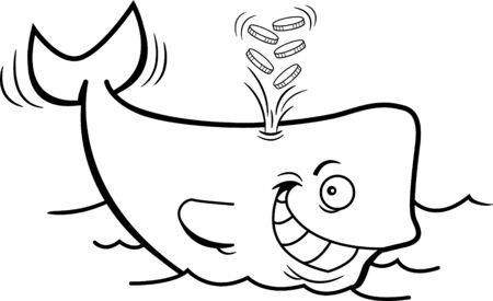 Black and white illustration of a whale spouting gold coins. Illusztráció