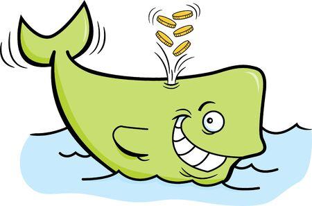 Cartoon illustration of a whale spouting gold coins. Illusztráció