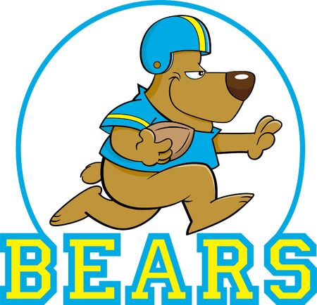 Cartoon illustration of a bear playing football inside a circle with Bears text.