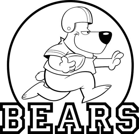 Black and white illustration of a bear playing football inside a circle with Bears text.