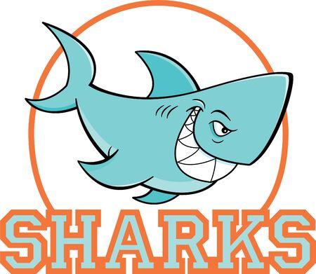 Cartoon illustration of a shark inside a circle with sharks text. Illusztráció