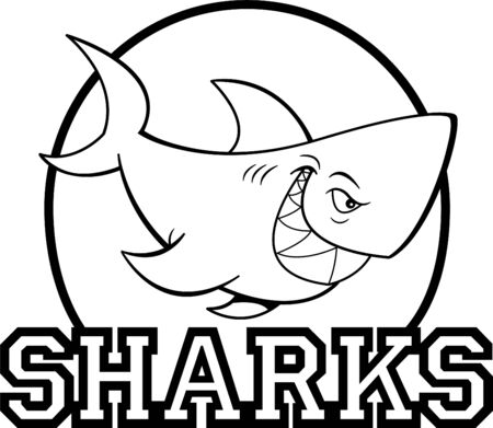 Black and white illustration of a shark inside a circle with sharks text.