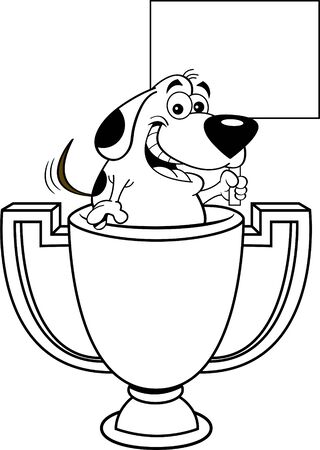 ack and white illustration of a dog inside a trophy cup holding a sign.