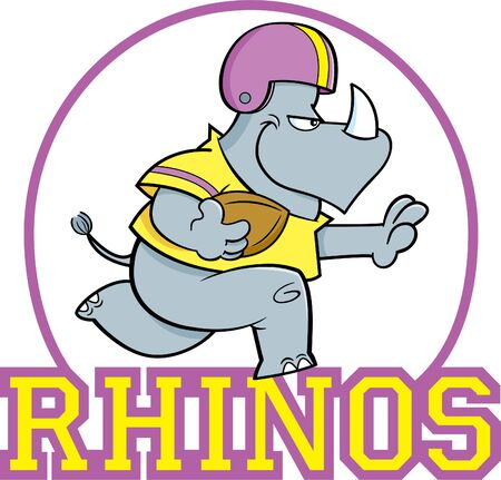 Cartoon illustration of a rhino playing football inside a circle with Rhinos text.