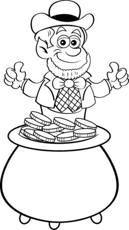 Black and white illustration of a leprechaun sitting in a pot of gold coins. Banque d'images - 131870644