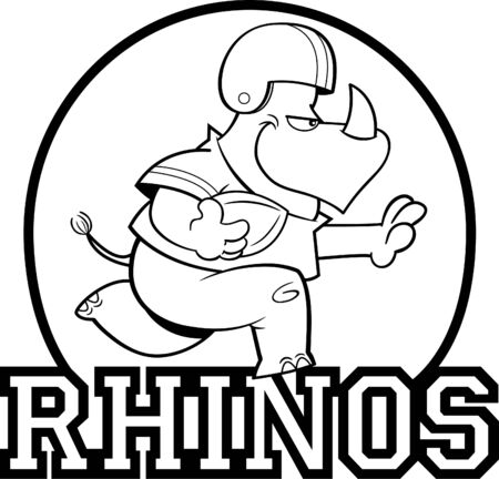Black and white illustration of a rhino playing football inside a circle with Rhinos text. 向量圖像