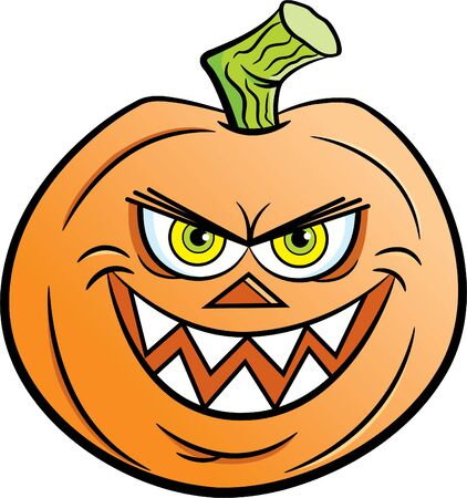 Cartoon illustration of an evil smiling jack o lantern.