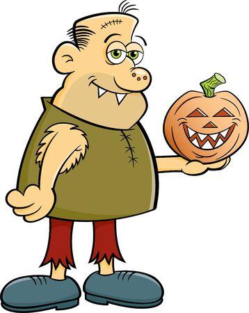Cartoon illustration of a gruesome character holding a jack o lantern pumpkin.