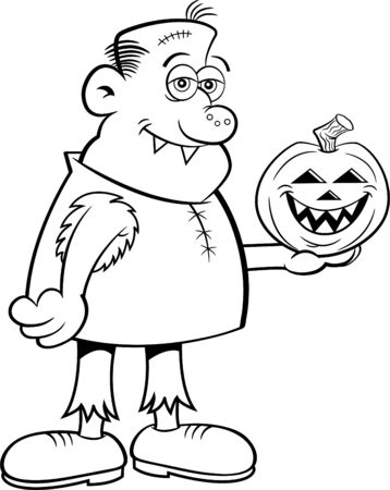 Black and white illustration of a gruesome character holding a jack o lantern pumpkin.