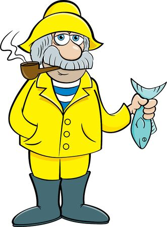 Cartoon illustration of an old sea captain holding a fish.