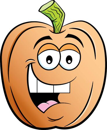 Cartoon illustration of a happy smiling pumpkin.