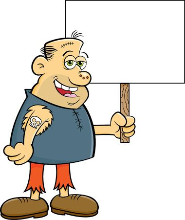 Cartoon illustration of a gruesome character holding a sign.